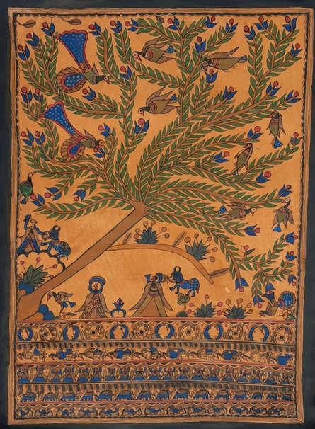Traditional Indian art title Madhubani 2 on Paper - Madhubani Paintings