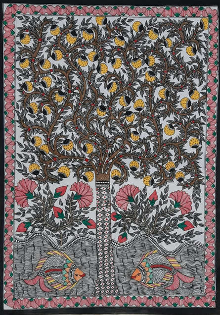 Traditional Indian art title Madhubani 3 on Paper - Madhubani Paintings