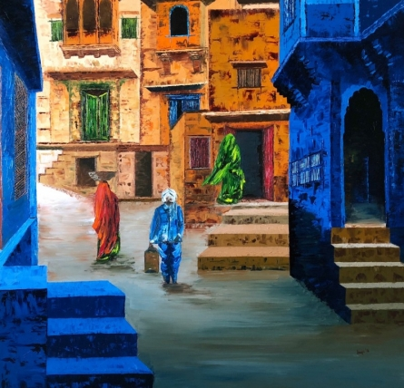 Cityscape Oil Art Painting title 'Busy Street 3' by artist Anuja Sane