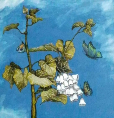 Shyamali Paul Paintings | Nature Painting - Branch And Butterfly by artist Shyamali Paul | ArtZolo.com