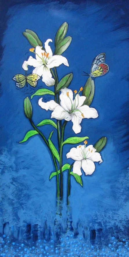Shyamali Paul Paintings | Acrylic Painting - Flower 2 by artist Shyamali Paul | ArtZolo.com