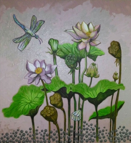 Nature Acrylic Art Painting title 'Lotus' by artist Shyamali Paul