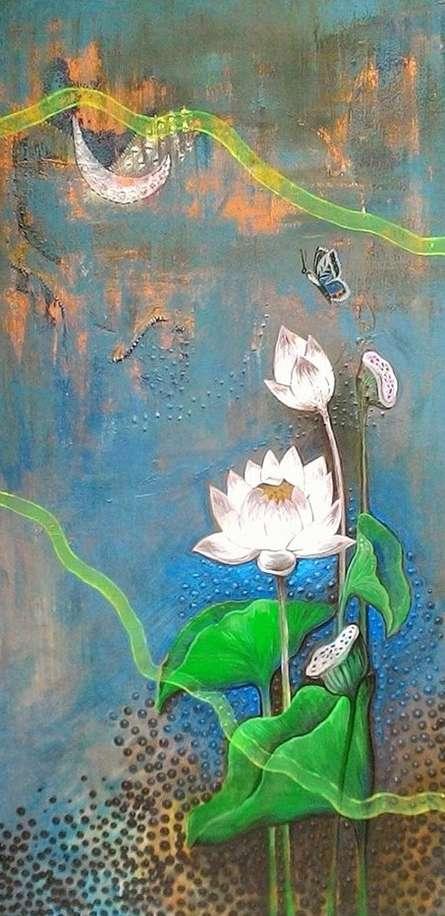 Nature Acrylic Art Painting title 'White Lotus' by artist Shyamali Paul