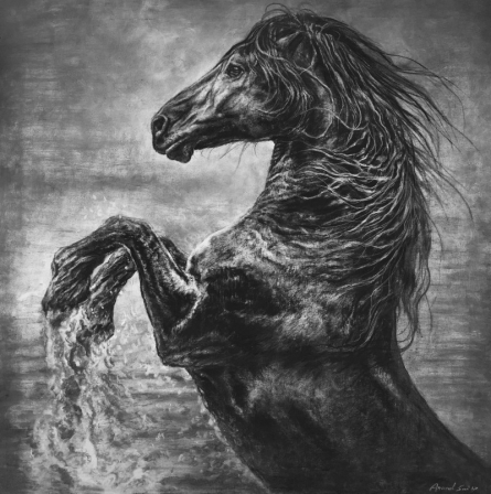 Animals Charcoal Art Painting title 'Wild Spirit' by artist Anand Sai