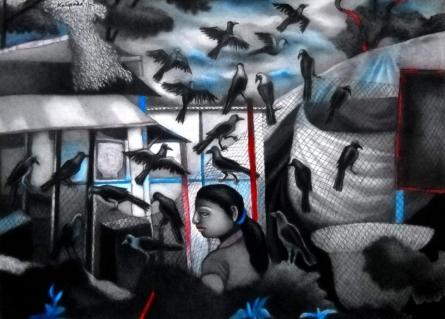 Figurative Mixed-media Art Painting title A Girl With Black Birds by artist Kalipada Purkait