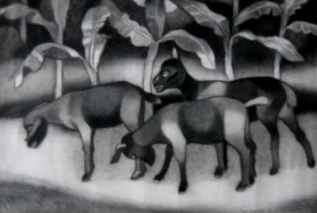 Animals Mixed-media Art Painting title 'Animals' by artist Kalipada Purkait