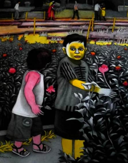 Figurative Mixed-media Art Painting title 'Garden' by artist Kalipada Purkait
