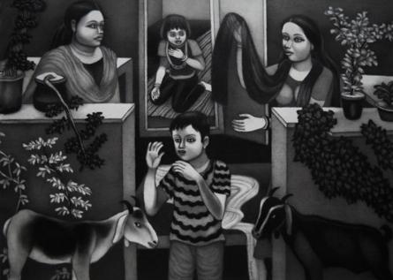 Figurative Mixed-media Art Painting title Interior 2 by artist Kalipada Purkait