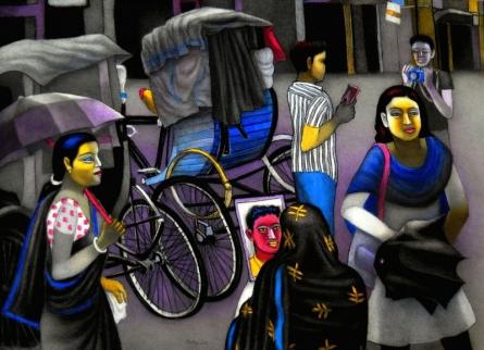 Figurative Mixed-media Art Painting title Taken Picture Of Dearest Friend by artist Kalipada Purkait
