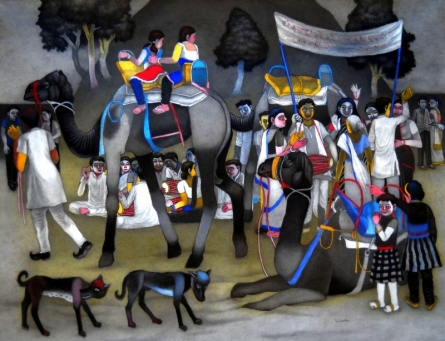 Figurative Mixed-media Art Painting title 'They Went For A Camel Ride On Sunday' by artist Kalipada Purkait
