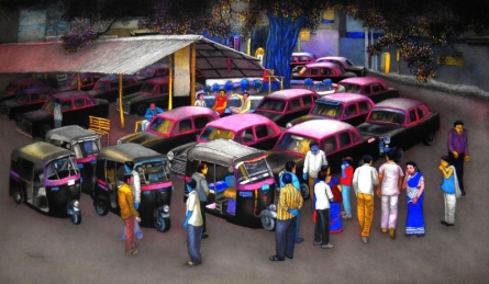 Transportation Mixed-media Art Painting title 'Vehicles Stand Point 2' by artist Kalipada Purkait