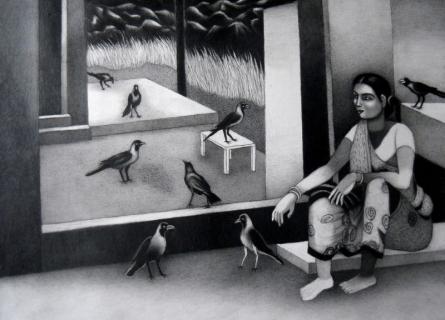 Figurative Mixed-media Art Painting title 'Woman With Birds' by artist Kalipada Purkait