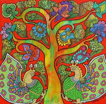 Nature Acrylic Art Painting title Prakruthi 1 by artist Neeraja Kongara