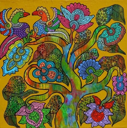 Nature Acrylic Art Painting title Prakruthi 5 by artist Neeraja Kongara
