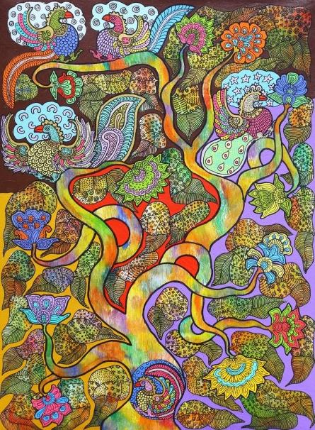 Nature Acrylic Art Painting title Prakruthi 9 by artist Neeraja Kongara