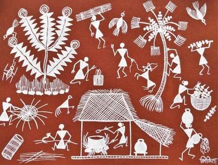 Traditional Indian art title Warli Art 16 on Cloth - Warli Paintings