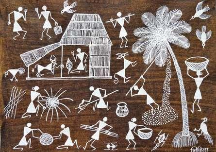 Traditional Indian art title Warli Art 19 on Cloth - Warli Paintings
