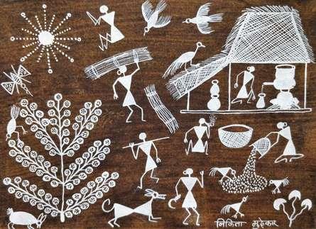 Traditional Indian art title Warli Art 23 on Cloth - Warli Paintings