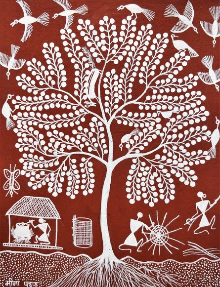 Traditional Indian art title Warli Art 17 on Cloth - Warli Paintings
