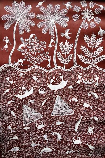 Traditional Indian art title Warli Art 24 on Canvas - Warli Paintings