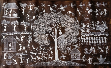 Traditional Indian art title Warli Art 25 on Cloth - Warli Paintings