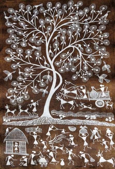 Traditional Indian art title Warli Art 26 on Cloth - Warli Paintings
