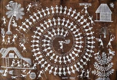 Traditional Indian art title Warli Art 27 on Cloth - Warli Paintings