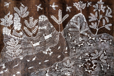 Traditional Indian art title Warli Art 28 on Cloth - Warli Paintings
