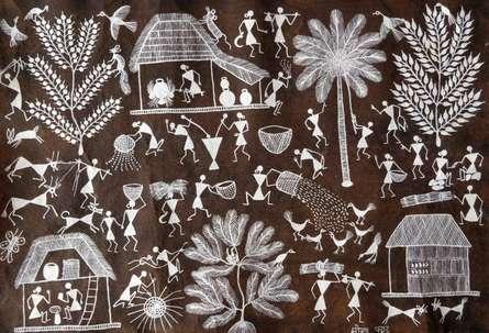Traditional Indian art title Warli Art 29 on Cloth - Warli Paintings