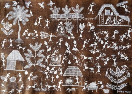 Traditional Indian art title Warli Art 30 on Cloth - Warli Paintings