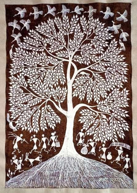 Traditional Indian art title Warli Art 30 on Cloth - Warli Paintings