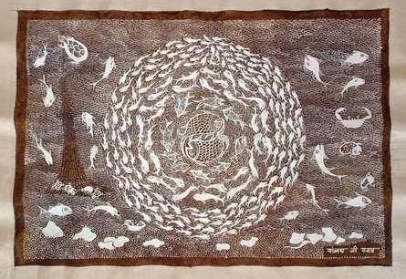 Traditional Indian art title Warli Art 33 on Cloth - Warli Paintings