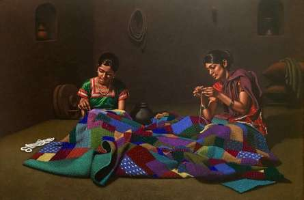 Figurative Color-pencil Art Drawing title Godhadi by artist Shashikant Dhotre