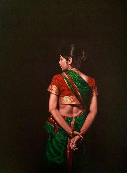 Realistic Color-pencil Art Drawing title 'Looking Back' by artist Shashikant Dhotre