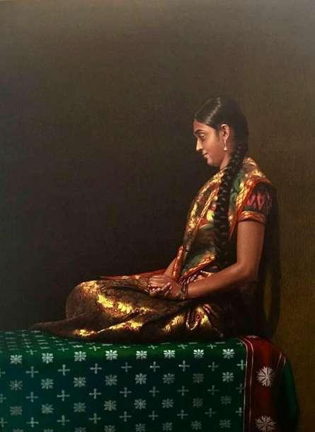 Realistic Color-pencil Art Drawing title Sitting Lady 2 by artist Shashikant Dhotre