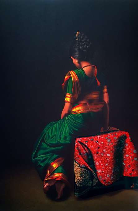 Realistic Color-pencil Art Drawing title Sitting Lady 3 by artist Shashikant Dhotre