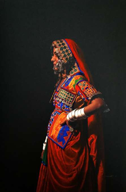 Realistic Pencil Art Drawing title 'Standing Lady' by artist Shashikant Dhotre