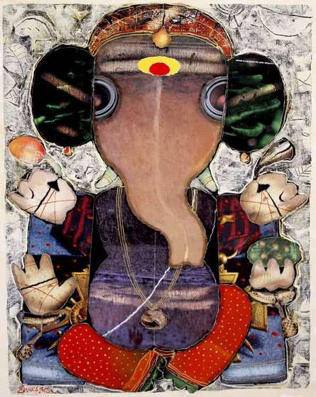 G Subramanian | Mixed-media Painting title Ganesha 2 on Canvas | Artist G Subramanian Gallery | ArtZolo.com