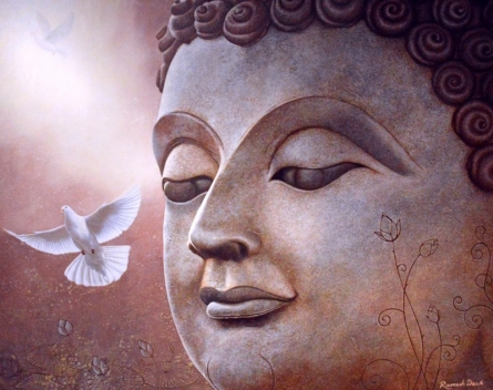 Religious Acrylic Art Painting title 'Buddha' by artist Ramesh Das