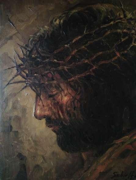 Religious Oil Art Painting title Jesus by artist Sabir Hussain