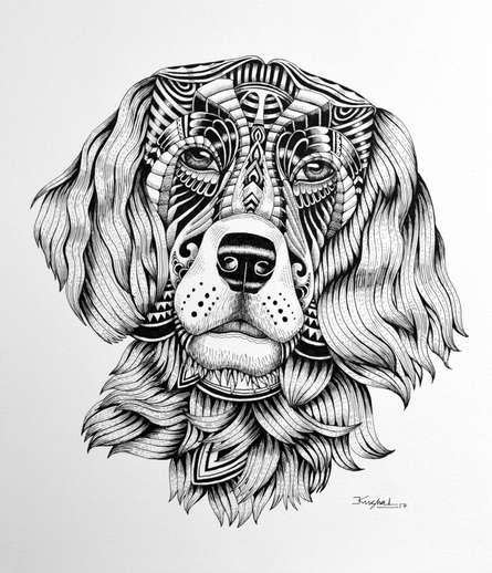 Animals Pen Art Drawing title 'Dog' by artist Kushal Kumar