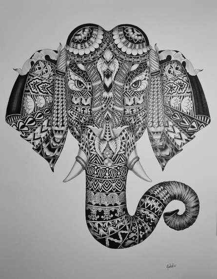 Pen Paintings | Drawing title Elephant 1 on Paper | Artist Kushal Kumar