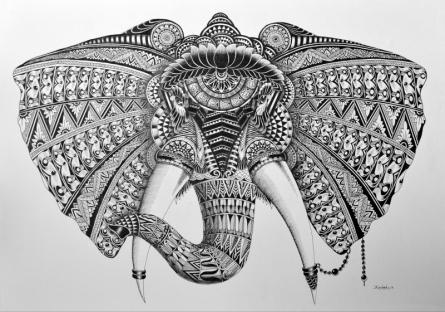 Pen Paintings | Drawing title Elephant 2 on Paper | Artist Kushal Kumar