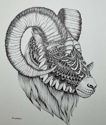 Animals Pen Art Drawing title 'Goat 4' by artist Kushal Kumar