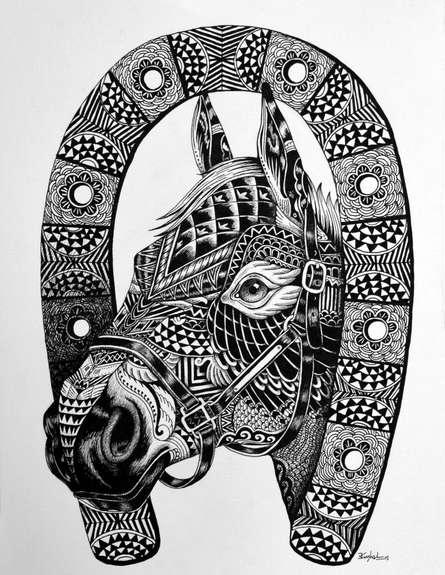 Pen Paintings | Drawing title Horse 2 on Paper | Artist Kushal Kumar