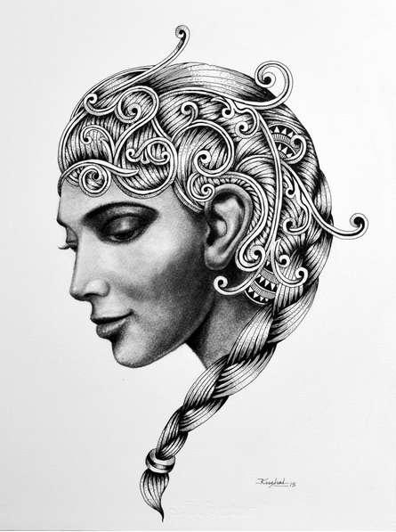 Figurative Pen Art Drawing title 'Kanya' by artist Kushal Kumar