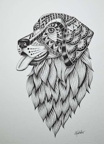 Animals Pen Art Drawing title 'Labrador Retriever' by artist Kushal Kumar