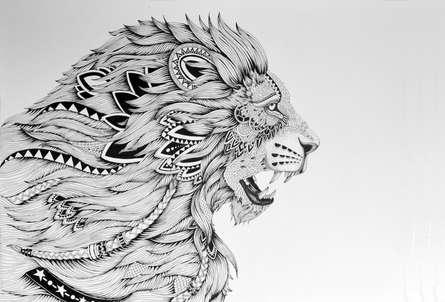 Animals Pen Art Drawing title 'Lion King' by artist Kushal Kumar