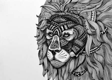 Pen Paintings | Drawing title Lion Mask 1 on Paper | Artist Kushal Kumar