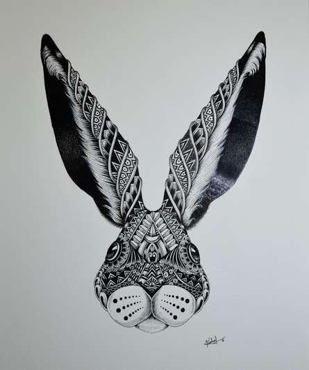 Pen Paintings | Drawing title Rabbit on Paper | Artist Kushal Kumar